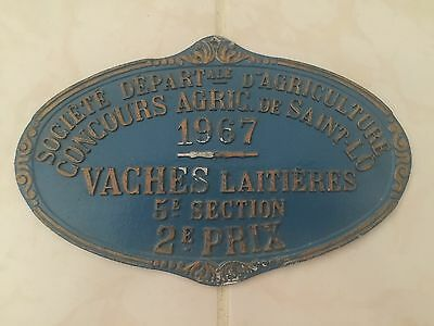 VTG Blue French Dairy Cow Award Trophy Embossed Plaque 1967 Agriculture Antique