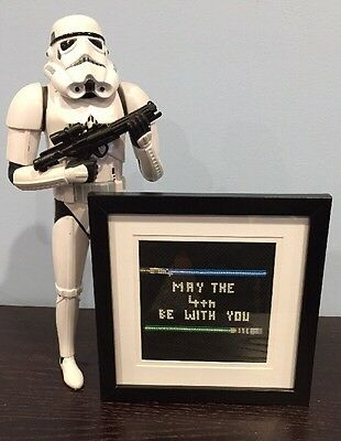 Star Wars Cross Stitch - May The 4th Be With You - Framed