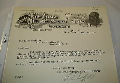 1913 New York Victor Talking Machine Phonograph Letter Nipper HMV Superb Graphic
