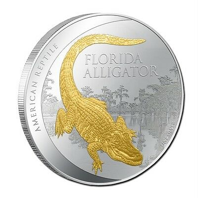 2012 1 oz Silver Proof Alligator Gold Gilded Coin New Zealand Mint Mintage 2500