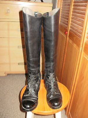 """Dehner's Size 9 Voyager FIELD Boots 19"""" TALL 16""""WIDE BLACK LEATHER EXCELLENT"""
