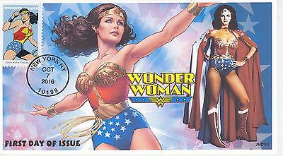 Jvc Cachets -2016 Wonder Woman Cover #2 First Day Covers Fdc Super Hero Comics