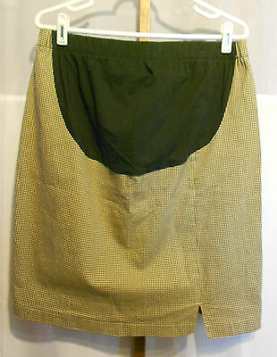 Duo Maternity Skirt, Lt brown or tan houndstooth, L, Gently used