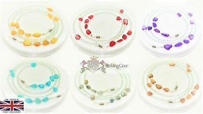 Glasses Retainer Cord Necklace Strap Colour Stones & Clear Beads Design - SG-UK