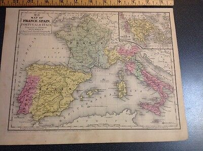 Antique Vintage Map France Spain Portugal Italy Mitchell's 1846 Hand Colored