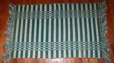 "VTG Hand Made Loom Cotton Rag Rug 35x18"" Ribbed THICK Green Striped EUC"
