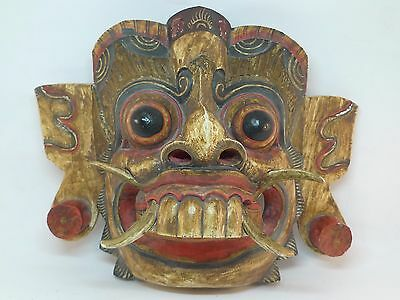 Vintage Traditional Japanese Demon Mask Wood Carving Wall hand Carved painted