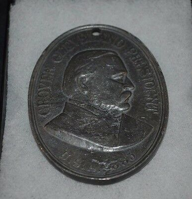 President Grover Cleveland Oval Indian Peace Medal Dated 1885  Cast Iron?