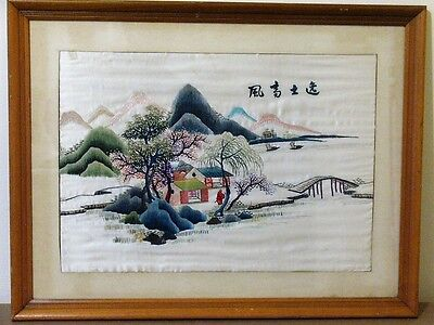 VINTAGE Japanese Silk Embroidered Art LANDSCAPE MOUNTAIN HOUSE SIGNED STUNNING