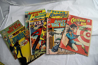 Lot of 7 Cowboy Billy The Kid Texas Ranger Johah Vintage Comic Books c.1970s