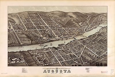 12x18 inch Reprint of American Cities Towns States Map Augusta Maine