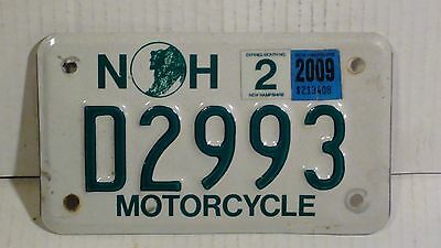 2009 New Hampshire Motorcycle License Plate (D2993)