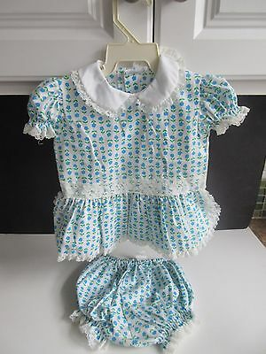 VTG Girls Blue Floral Print Two Piece Romper Set BRYAN SO CUTE!