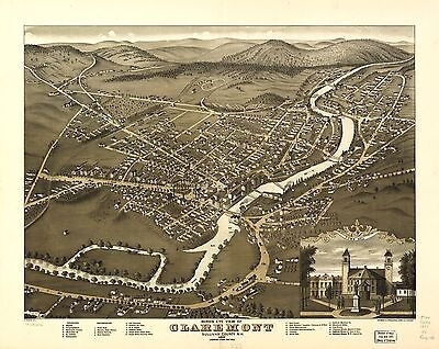 12x18 inch Reprint of American Cities Towns States Map Claremont Sullivan Nh