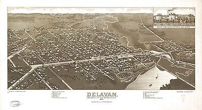 12x18 inch Reprint of America Cities Towns States Map Delavan Walworth Wisconsin