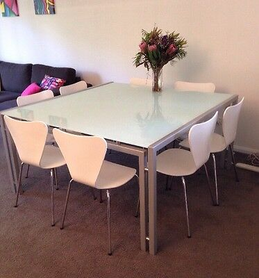Large Square Glass Dining Table + 8 White Wooden Chairs