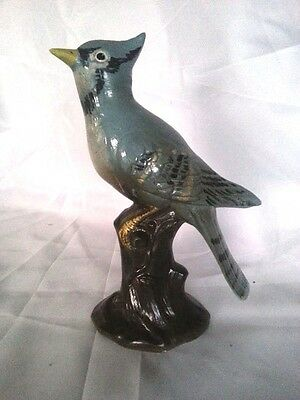 Vintage Holland Mold Blue Jay Bird Hand Painted Collectible Art Figurine Statue