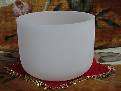New Frosted Quartz Crystal Singing Bowl 8'' E Musical Note Solar Chakra