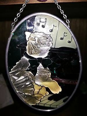 Sun CatcherJoan Baker Cat Piano Music Notes Stained Glass