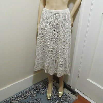 Vtg PALLAS Hand Loomed pure woven Irish Linen Knitted ruffle Sweater SKIRT S/M/L