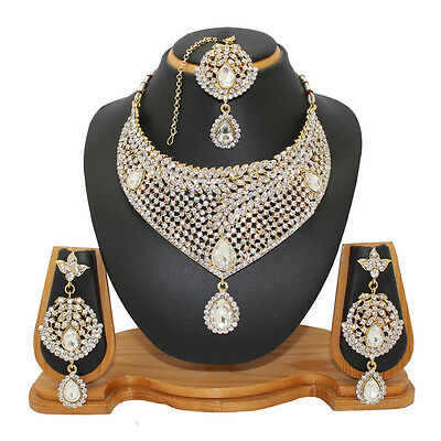 Indian Fashion Jewelry Necklace Set Bollywood Ethnic Gold Plated Traditional CZ