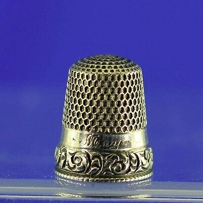 "Antique Sterling Thimble Stern Bros Philadelphia Monogram ""may"" Sz 9 Ca 1900's"