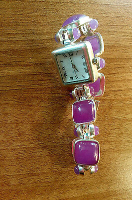 Lavender Purple Jade & Sterling Silver 925 Link Bracelet Quartz Watch.
