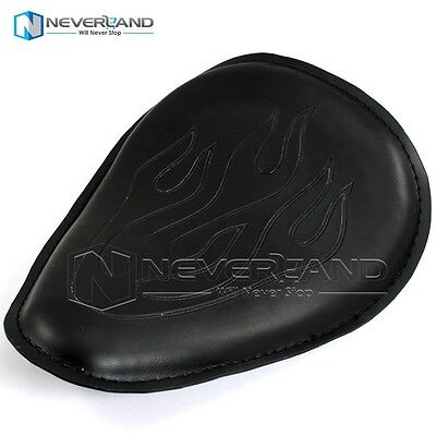 Black Leather Flame Solo Slim Driver Seat Large For Harley Bobber Chopper 883 XL