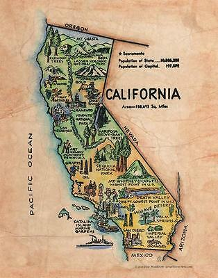 163 Illustrated map of California c. 1950' vintage historic antique map print
