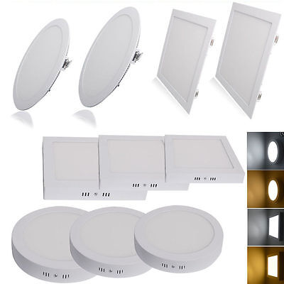 LED Ceiling Flat Panel Light Lamp Downlight Surface Mounted/ Recessed 3W-24W Kit
