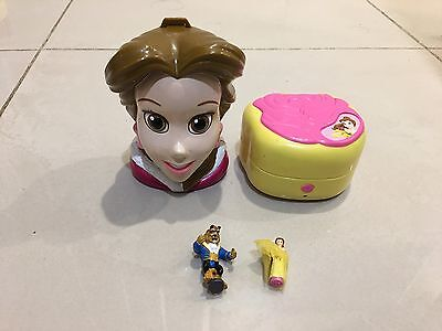 Vintage Polly Pocket Disney Beauty Beast Belle With Figurines