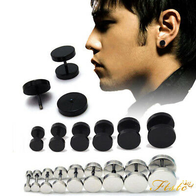 BLACK ROUND BARBELL STAINLESS STEEL MENS EAR STUD EARRING GOTHIC PUNK 3 to 15mm