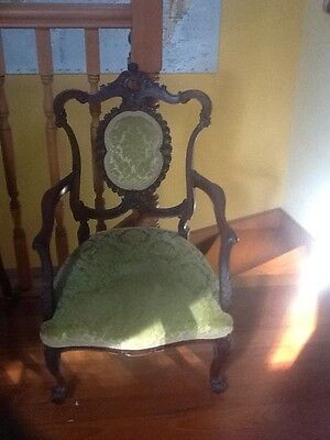 1860s Grandmother arm chair. victorian. walnut. exquisite carving!