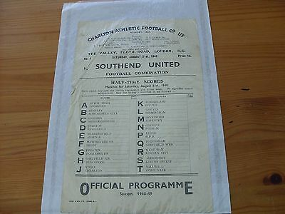 Charlton Res v Southend Res programme dated 21-8-1948   (R510)