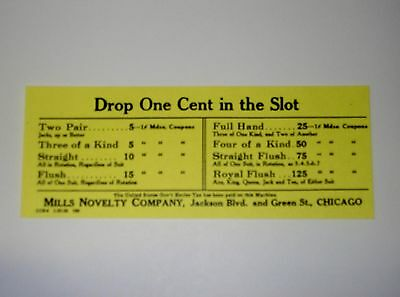 Reproduction Mills Novelty  Trade Stimulation Pay Out Card