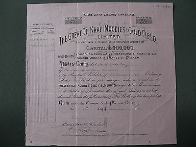 1903 The Great De Kaap Moodies Gold Field Share Africa
