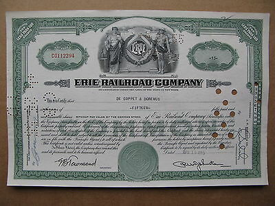 ERIE RAILROAD COMPANY STOCK CERTIFICATE 15 SHARES  New York US Green
