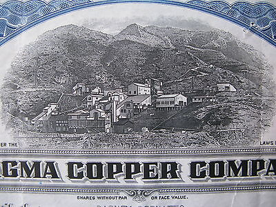1931 Magma Copper Company Stock Certificate Maine Mining US