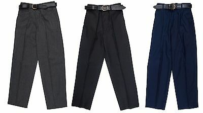 Boys Kids Sturdy Fit School Uniform Trousers - Generous Fit. Ages 3 - 14 years
