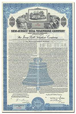 New Jersey Bell Telephone Company Bond Certificate (Washington's Headquarters)