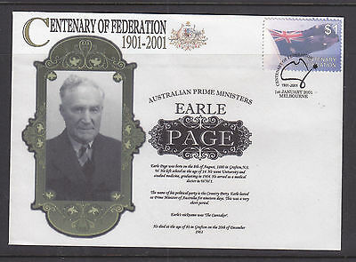 """Souvenir Local Post Cover: 2001 Australian Prime Ministers  """"earle Page"""""""