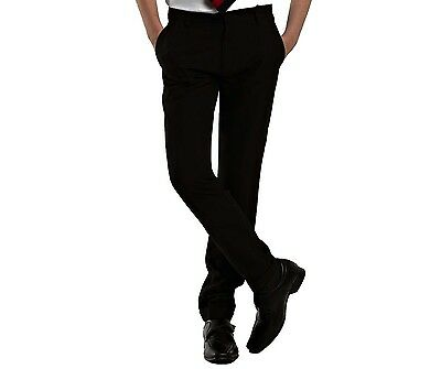 Boys Slim Fit School Trousers Mens Formal Office Work Skinny Leg Pants Black UK