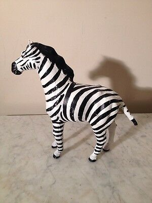 Paper Mache Sculpture Full Body Zebra Figure Novelty Leather Ears, Glass Eyes