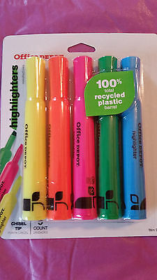 Office Depot Chisel Tip Highlighters, 5-ct. ASSORTED Colors