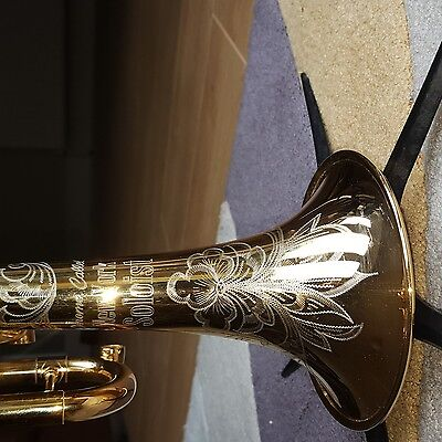Jerome Callet New York Soloist Trumpet Engraved Gold Plated With Eclipse Convrn.