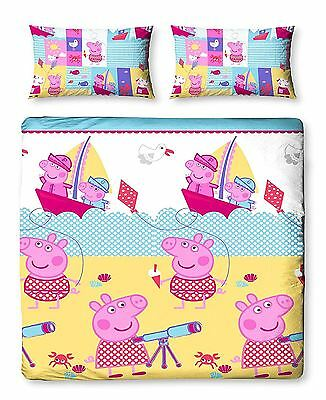 Girls Peppa Pig Nautical Reversible Double Rotary Duvet Quilt Cover Bedding Set