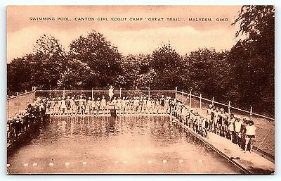 Postcard OH Malvern Swimming Pool Canton Girl Scouts GSA Camp  B35