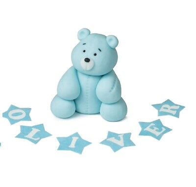 boy blue bear cake toppers christening edible personalised dec