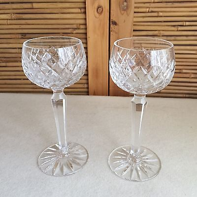 PAIR 2X Vintage BOHEMIA Crystal DIAMOND Pattern HOCK Wine GLASSES Tall STEM ~ EC