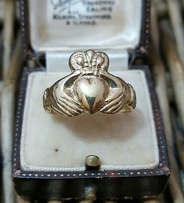 Vintage Solid Silver Claddagh Ring, Gold Plated, Size P½, 925 Sterling